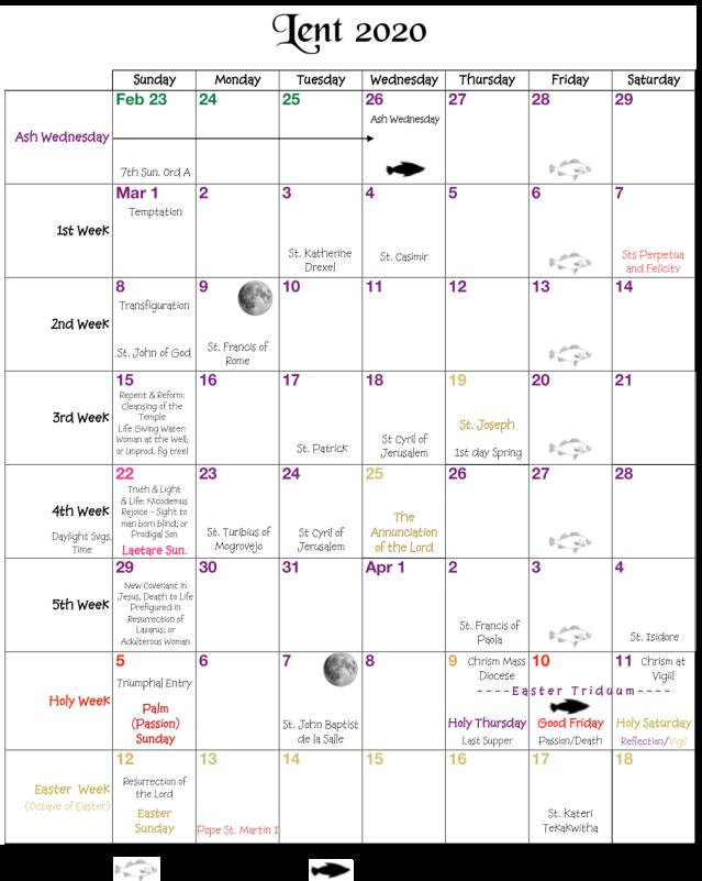 Lent Calendar 2020